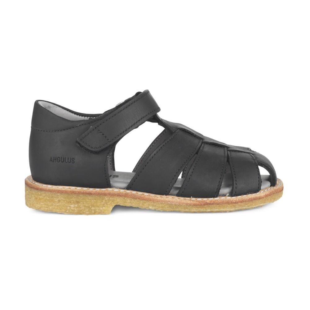 Angulus Sandal med velcro, 5026 Black Nubuck