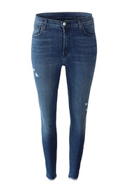 Leenah High Rise Ankle Skinny Moonless Distressed Jeans