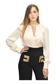Silk blend crepe bodysuit with bow
