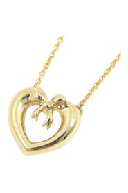 18K Heart Ribbon Pendant Necklace Metal 18K