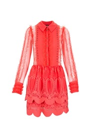 Mini dress with embroidered lace