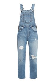 Denim trousers with suspenders