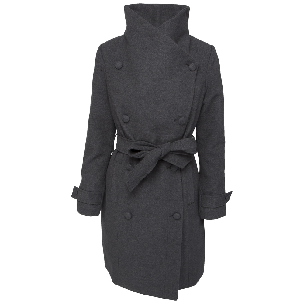 Soaked in Luxury Milano Trenchcoat Dark grey Melange