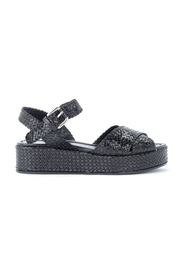 Braided leather sandal with ankle strap