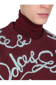 Turtle-neck sweater with jacquard logo
