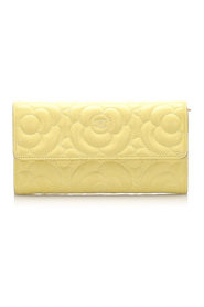 Camellia Lambskin Leather Flap Wallet