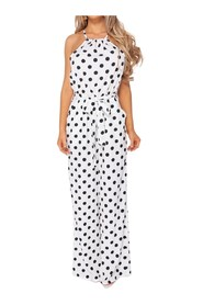 Polka Dot Tie Waist Gathered Neck Jumpsuit