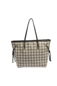 Coated Canvas and Leather Trim Tote