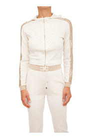 Cropped knit sweatshirt with zip