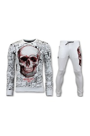 Jogging Suit with Print - Neon Skull
