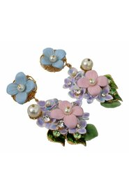 Crystal Floral Pearl Hortensia Bouquet Clip-on Earrings