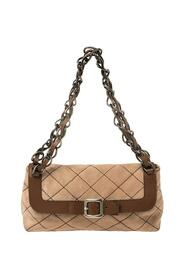 Suede And Leather Buckle Flap Shoulder Bag