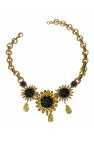SUNFLOWER Crystal Floral Chain Statement Necklace