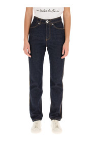 navy blue jeans with contrasting stitching