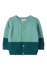Cardigan knitted colour block