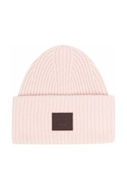 Wool beanie with face logo