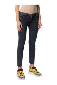 Faded-effect cropped skinny jeans