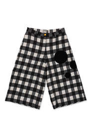 checked wide capri pants