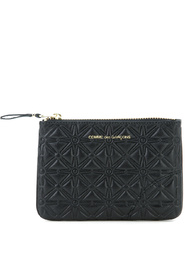 Pochette wallet black in printed leather