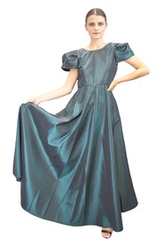 Long taffeta dress