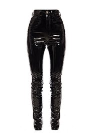 High-waisted latex trousers