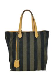 Jacquard Pequin Tote With Calfskin Top Handles -Pre Owned Condition Very Good