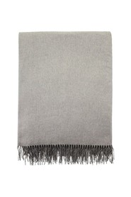 Double silk plaid with fringes