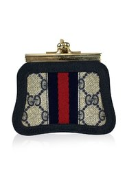 Vintage Monogram Canvas Coin Purse with Stripes