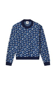 Blue monogram sweater