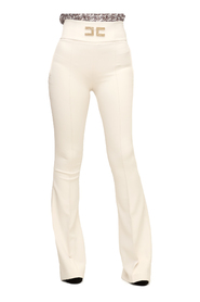 Flared trousers with logo embroidery