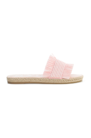 RAFFIA FRINGES FLAT SANDALS