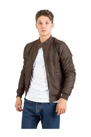 Coffee leather bomber