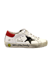 WHITE SUPERSTAR SNEAKERS WITH WRITING