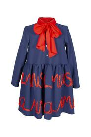DRESS WITH EMBROIDERED BAND AND BOW COLLAR
