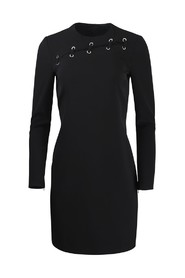 Long Sleeve  Dress With Eyelet Detail