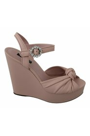 Crystal Wedge Leather Sandals Shoes