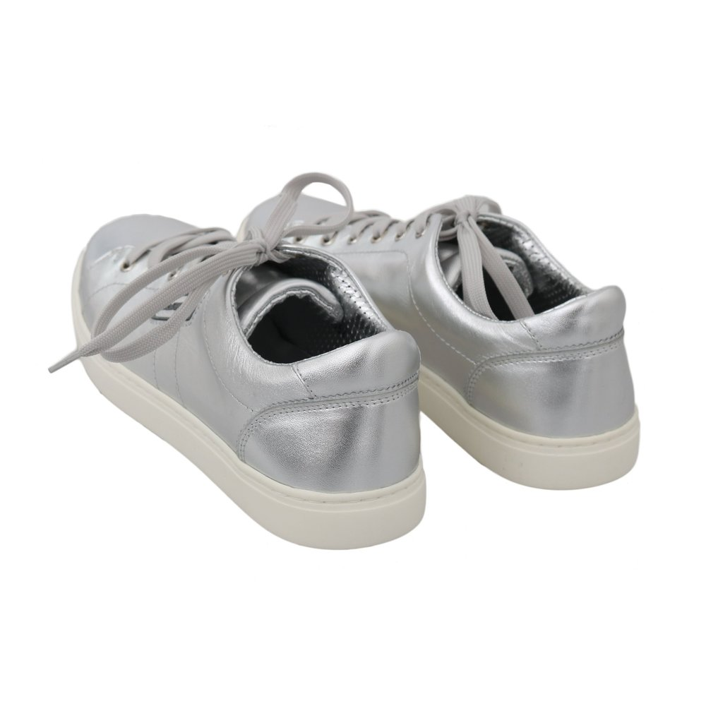 Silver Leather Casual Sneakers | Dolce & Gabbana | Sneakers | Men's shoes