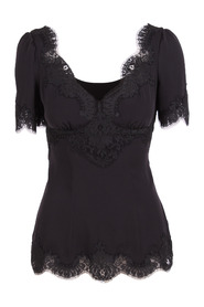 Charmeuse top with lace details