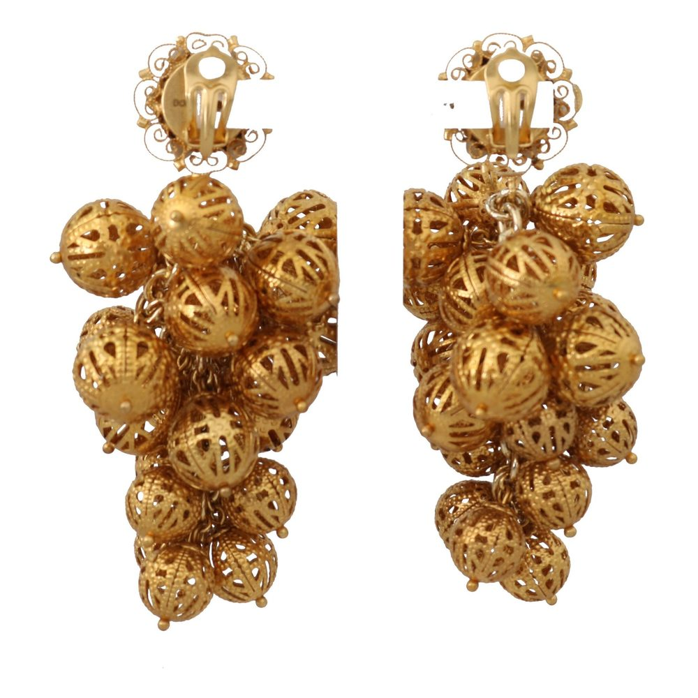 Dolce & Gabbana Gold Filigree Floral Clip On Earrings Dolce & Gabbana