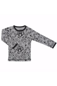 Petit by Sofie Schnoor - T-shirt LS, Tiger - Dark Grey Melange