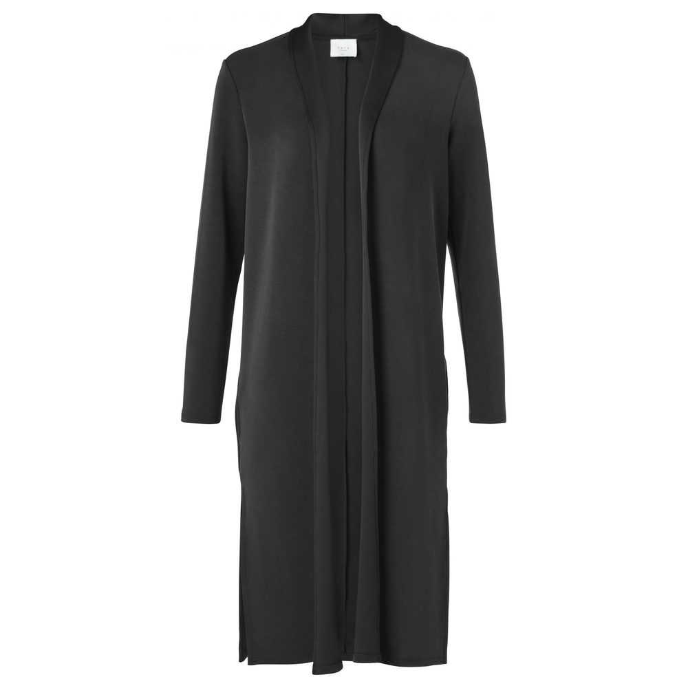 LONG JERSEY CARDIGAN WITH SHAWL COLLAR AND SIDE SLITS