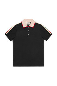 Cotton polo shirt with Gucci ribbon