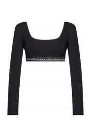 Cropped top with long sleeves