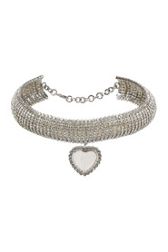 CRYSTAL CHOKER WITH HEART PENDANT