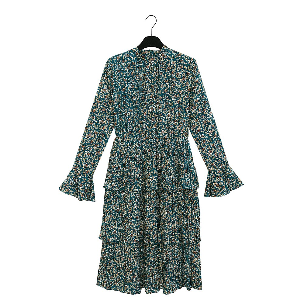 FREDERIKKE Pleated Green Flower Print Dress