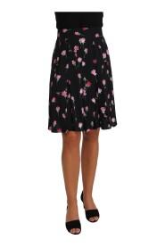 Rose Print Floral Knee Length Skirt