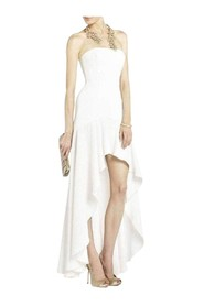 Evangelina Fitted Strapless High-Low Dress UYS6V914-101