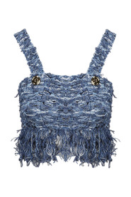 CROPPED FRINGED TWEED STRAP TOP
