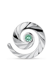 Impression Stud with emerald, sterling silver