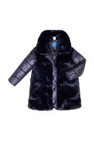 WIDE COLLAR JACKET WITH FUR AND POCKETS